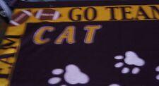 "Go Team Cat Tracks Football Cheerleading Paw Print Fleece Fabric Panel 46"" X 60"""