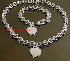 Women Silver Stainless Steel Fashion Oval Link Chain Necklace and Bracelet Set