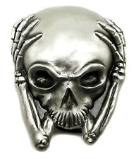 Skull Belt Buckle 3D Alien Head in Hands Gothic Fantasy Great American Products