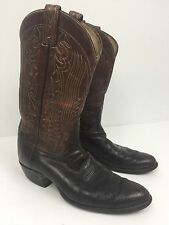 Tony Lama Mens Black & Brown Leather Western Cowboy Boots Two tone 10.5 B