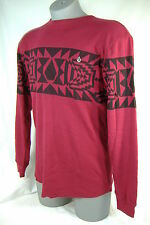 "New Mens Small VOLCOM ""Spirit Animal"" Red Black Thermal Long Sleeve Shirt $35"