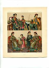 Antique Print Litho CHINA  IMPERIAL FAMILY CLOTHING  1888 Le Costume Historique