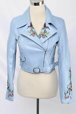 ZR&ZR Size S Light Blue Faux Leather Cropped Embroidered Moto Jacket 1931 ST117