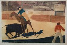 Willi Geiger 1908; Stierkampf Corrida, Radierung 45 x 65cm.