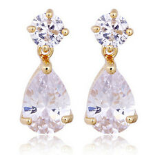 Luxury Gold and White Shiny Teardrop Zircon Dangle Drop Stud Earrings E730