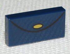 Lego New Dark Blue Tile 1 x 2 with Purse with Gold Clasp Pattern