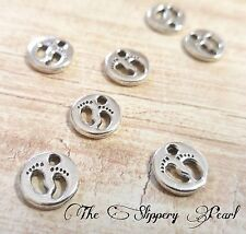 Baby Feet Charms Pendants Antiqued Silver Baby Charms Baby Shower Favors 10pcs