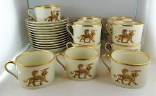 12 Fitz & Floyd China Alexandria Cup and Saucer Sets - Brown Shells, Animals
