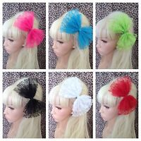 NEW BIG OVERSIZED DOUBLE LACE BOW HAIR CLIP 80s STYLE HEN PARTY FANCY DRESS