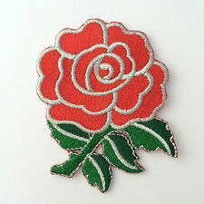 Embroidered Red Rose Silver Trim Iron on Sew on Patch Badge