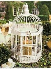 "Off White 14"" Metal Decorative Bird Cage w/Hinged Door & Lid CANDLE Centerpiece"
