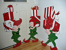 NEW 3-PIECE SET ELVES CHRISTMAS YARD ART DECORATION.