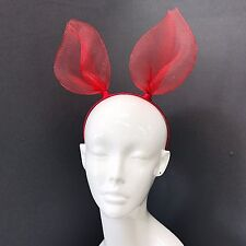 Trendy Red Mesh Rabbit Bunny Ears Headband For Fancy Dress Costume Party