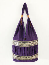 NEW Thai Elephant Shoulder Bag Cotton Bag Tote Boho Hippie Style Handmade Purple