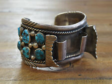 Vintage Moore Reeder Navajo Sterling Silver And Turquoise Men's Watch Cuff