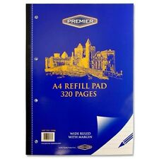 2 x QUALITY A4  REFILL PAD  WIDE RULED WITH MARGIN HOME OFFICE SCHOOL 320 PAGES