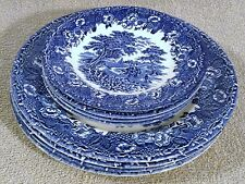 "Set Of 4 Blue English Ironstone 10"" Dinner Plates And 7"" Bread Plates Very Nice"