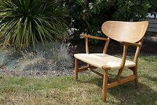 Hans Wegner CH22 Carl Hansen Oak  Danish Cord Lounge Chair