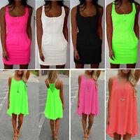 Women Sleeveless Casual Evening Party Beach Mini Dress Loose Jumper Top Sundress