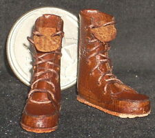 Dollhouse Miniature Prestige Brown Work Boots 1:12 NEW Clothing Camping