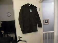 JOHN LEWIS BROWN COTTON LEATHER MIX HOOD PARKA JACKET SIZE M RRP-£150