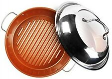 NuWave BBQ Grill Pan Stainless Steel Non Stick w/ Lid Induction Safe Cookware
