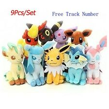 9pcs New Pokemon Evolution of Eevee Plush doll Toy Set of 9 Eeveelution