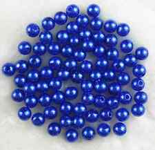 200Pcs 6mm Dark Blue  Acrylic Round Pearl Spacer Loose Beads