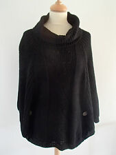 Poncho noir col roulé grosse maille tricot laine mohair 36 38 40 neuf ladydjou