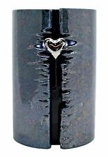 Cremation Urn - Full Size - Ceramic Wrapped Heart with LED lights (GRAPHITE)