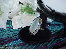 Sterling Silver Mother Of Pearl Marcasite Huge Long Ring Size 6 Vintage Deco