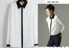 Classic Lapel Black/White Handsome Women Long Sleeve Button Down Shirt Size M