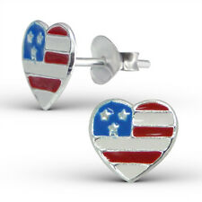 925 Sterling Silver Earrings - USA Stars & Stripes Flag Heart Studs - Boxed