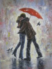 "12x16 Kissing, Romance Print ""Kiss in the Rain"" by Vickie Wade"