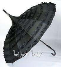 Goth : Parapluie ou Ombrelle Pagode NOIR Uni Frou-Frou Manga Lolita Gothique