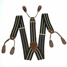 Fashional Men's Suspenders Braces Adjustable Leather Button Holes Stripes BD756