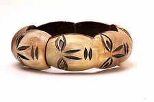 LADIES UNIQUE AZTEC INSPIRED AFRICAN THEME HEAD TRIBAL WOODEN BANGLE(ZX12)