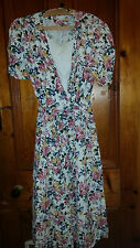 LADIES TRUE VINTAGE FLOWERED COTTON  DRESS SL FASHION 38 CHEST PADDED SHOULDERS