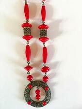 Vintage red glass bead long Czech necklace