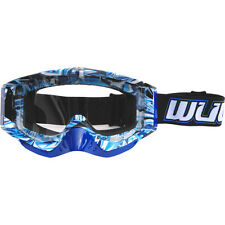 Wulfsport Adult MX Motorcross Geo Anti Scratch Lens Quad Bike Goggles Blue T