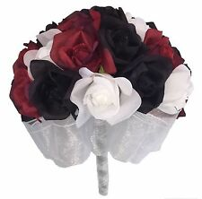 Red, White and Black Silk Rose (24 Roses) - Artificial Silk Bridal Bouquet