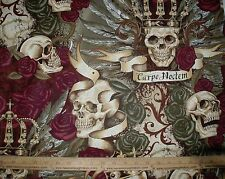 Cotton Fabric Alexander Henry Royal Carpe Noctem Seize the Night Skull Vintage