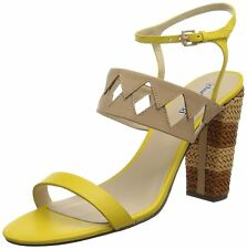 NEW CHARLES DAVID WOMEN Sz9US JUNGLE HIGH HEELS SANDALS LEATHER YELLOW/NUDE