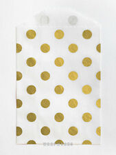 100 Tiny White and Metallic Gold Polka Dot Paper Bags - 2.75 x 4 inches