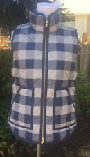 J.CREW L NEW Excursion Vest Buffalo Check Navy Gray Quilted Down Puffer NWT