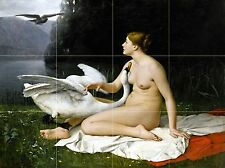 Art LEDA AND THE SWAN Mural Ceramic Bath Backsplash Tile #2403