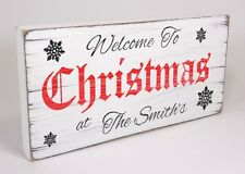 Personalised Welcome Shabby & Chic Vintage Christmas Xmas Gift Sign Plaque