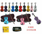 New Acoustic Violin,Case,Bow,2 Sets Strings,Tuner 4/4 3/4 1/2 1/4 1/8 1/10 1/16