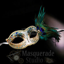 Women's Peacock Feathered Venetian Mardi Gras Masquerade Mask [Turquoise/Gold]