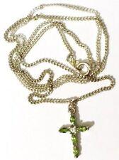 pendentif chaine rétro bijou vintage petite croix zircon péridot diamant 4701